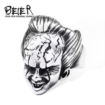 Punk Rock ring 316L stainless steel Cool Unique Design Movie  Face Funny... - $14.05