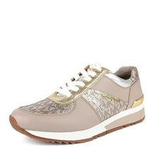Michael Kors MK Women's Allie Trainer Leather (7.5, Silver Gold)