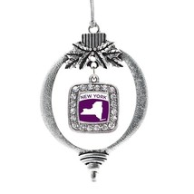 Inspired Silver New York Outline Classic Holiday Christmas Tree Ornament With Cr - $14.69