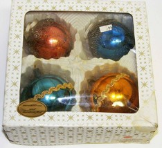 4 Vintage Wire-Wrapped Glass Christmas Ornaments - $25.00