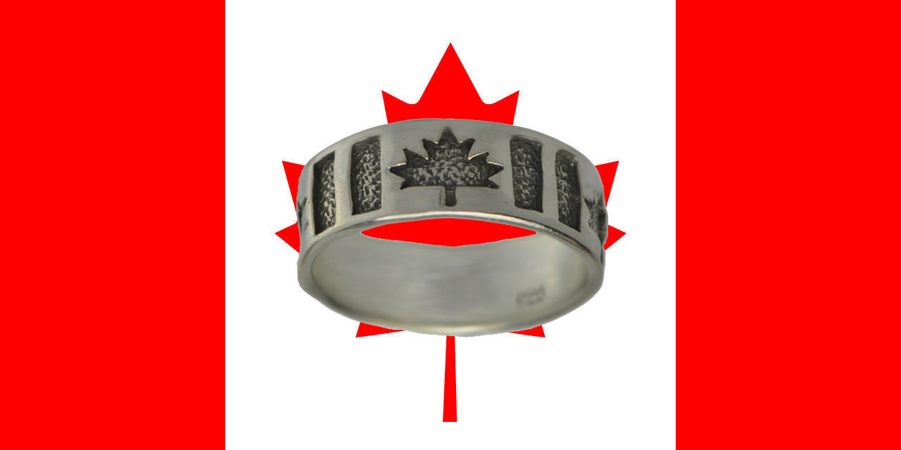 NICE Canada Day 150 Happy Birthday flag Maple leaf ring sterling silver 925 Jewe