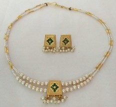 Reversible Gold Blue Purple White Pearl Jewelry Indian Bridal Necklace Set 2S - $12.34