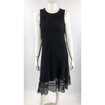 Alfani Dress Plus Sz 14W Black Fit Flare Mesh Overlay Sleeveless Zipper ... - $35.19