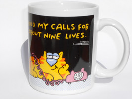 Vintage 1989 Hallmark Ceramic Coffee Mug Yellow Cat Thailand - $16.82