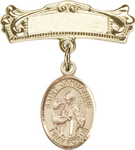 14K Gold Baby Badge with St. Januarius Charm Pin 7/8 X 3/4 inch - $507.83