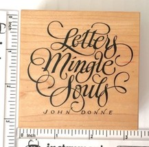 Letters Mingle Souls John Donne PSX Rubber Stamp Calligraphy Wood Mounte... - $7.91