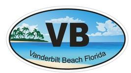 Vanderbilt Beach Florida Oval Bumper Sticker or Helmet Sticker D1272 Euro Oval - $1.39+
