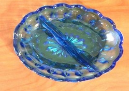 Indiana Aqua Blue Glass Oval Divided Dish Candy/Relish Divided Dish - $14.85