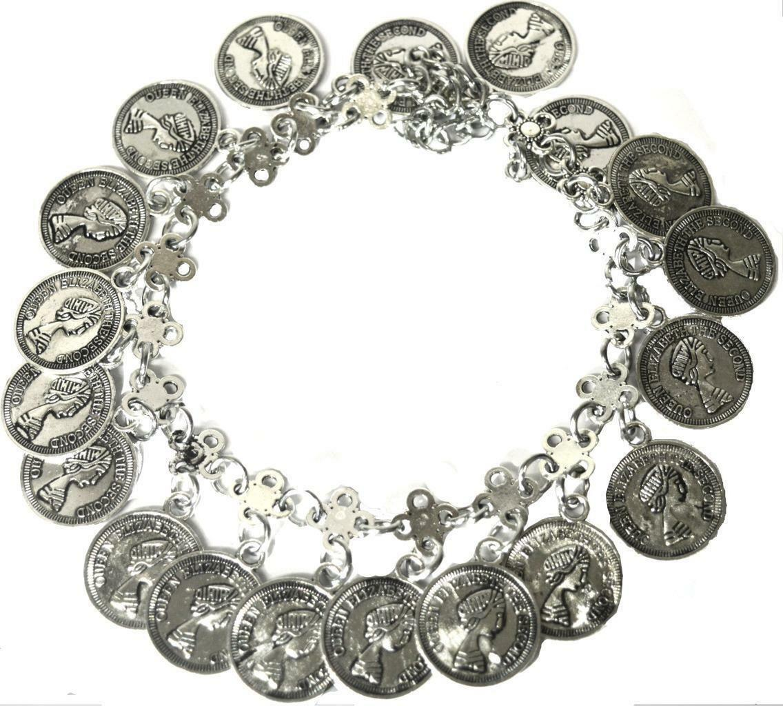 Primary image for MULTI DANGLE COIN BRACELET ANKLET QUEEN ELIZABETH JEWELLERY ACCESSORY