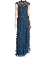 Adrianna Papell Women's Cap Sleeve Beaded Funnel Neck Teal Crush Gown 2 ... - $178.19