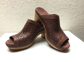 UGG ANSEL CHESTNUT OPEN TOE PERFORATED LEATHER CLOG SHOE US 6 / EU 37 / ... - $54.23