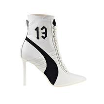 Puma Fenty High Heel Leather Rihanna Women's Shoes White-Black-White 363038-02 - $240.00