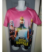 Fortnite Battle Royale Pink Short Sleeve Shirt Size M Men's EUC - $23.76