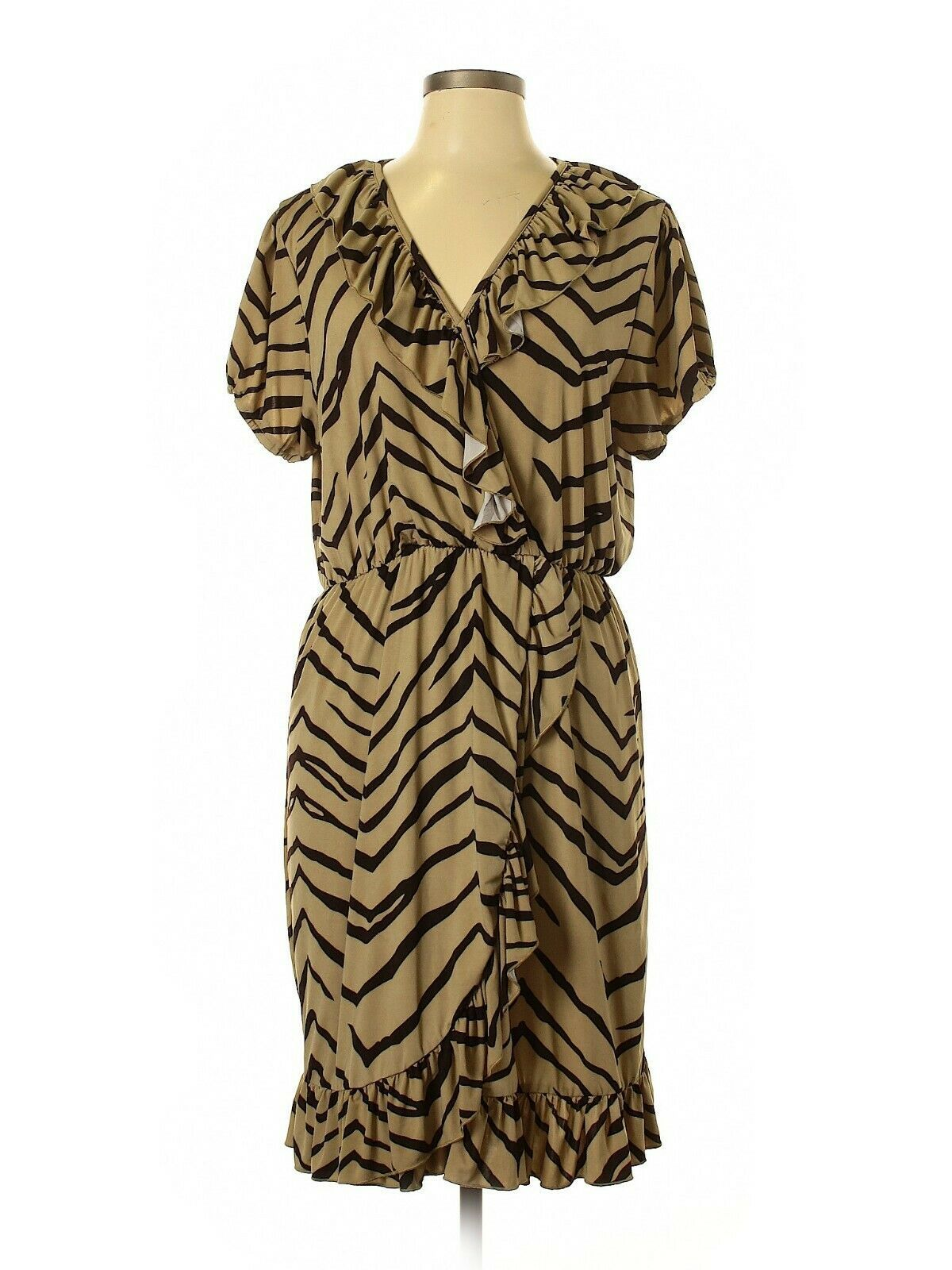 Primary image for Mocha and Chocolate Brown Chevron Print Dress size XL Pre-Owned