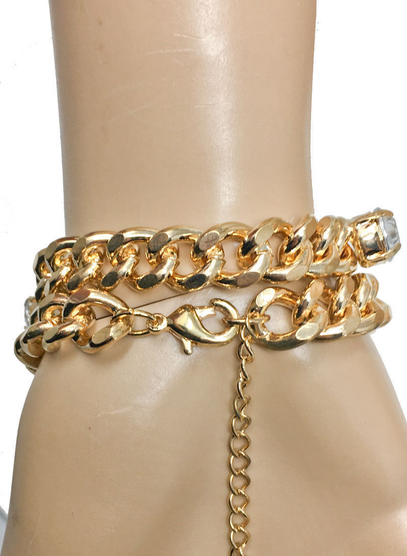 Chain Bracelet Or Necklace Incrusted Clear Rhinestones Chic Casual Hip Hop