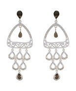 jaipur 925 Sterling Silver fine-looking Natural Brown Earring gift UK - $56.41