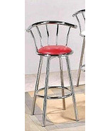 "SET OF (3) CHROMED RETRO PUB STYLE SWIVEL BAR STOOLS RED CUSHIONS- 29"" h... - $208.74"