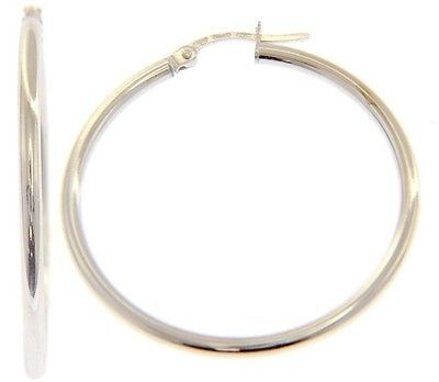 18K WHITE GOLD ROUND CIRCLE EARRINGS DIAMETER 30 MM, WIDTH 2 MM, MADE IN ITALY