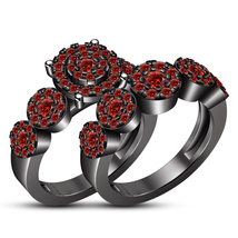 Red Garnet Engagement Ring Bridal Set 14k Black Gold Plated 925 Sterling... - $106.78
