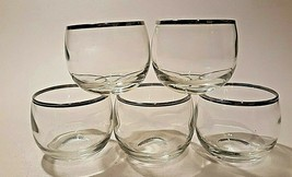 Dorothy Thorpe Style Silver Band Roly Poly Glasses Set of 5 Vintage Barw... - $21.60