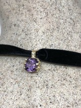 Vintage 925 Sterling Silver Genuine Purple Amethyst Pendant Choker Necklace - $94.05