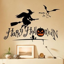 Dnven (27'w X 19'h) Happy Halloween Pumpkins Spooky Cemetery Witch and ... - $21.02
