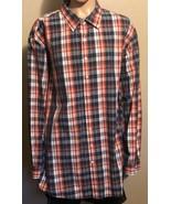 Men's True Nation Red White Blue Plaid Long Sleeve Button Front Shirt 4XLT - $29.02