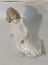 Nadal Girl Holding Flower In Appreciation Porcelain Figurine 1988 Enrique G - $30.84