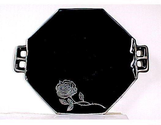 "Westmoreland Black Glass - 2 Handle Plate 7"" Plus Handles- Silver Octavia Rose - $19.99"
