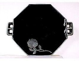"Westmoreland Black Glass - 2 Handle Plate 7"" Plus Handles- Silver Octavi... - $19.99"