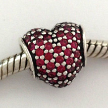 Authentic Pandora Sterling Silver Pave Heart Red Crystal Charm 791052CZR New - $53.19
