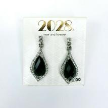 2028 1928 Jewelry Brand Silvertone Rhinestone Black Faceted Acrylic Earrings - $17.45