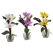 "Nearly Natural 3pcs Mini Cattleya Orchid Arrangement Flora Home Decor 14.5""Tall - $85.90"