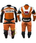 SUZUKI GSX-R ORANGE MOTORBIKE MOTORCYCLE COWHIDE LEATHER ARMOURED 2 PC SUIT - $339.99