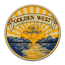 Golden West Oil Company with Sunset Reproduction Circle Round Aluminum Sign - $16.09