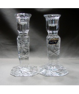 Violetta Crystal Taper Candlestick Holders Pinwheel Pattern, Made in Poland - $32.00