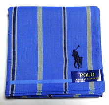 POLO Ralph Lauren Handkerchief hanky scarf bandana Blue Men Check Auth New - $23.76