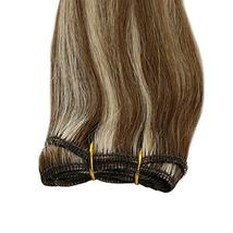 JoYoung Blonde Sew in Human Hair Weave Bundles Color #8 Light Brown Highlight wi image 4