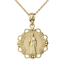 10K Solid Gold Saint Peter Pray For Us Medallion Pendant Necklace - $109.99+