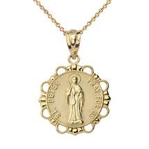 10K Solid Gold Saint Peter Pray For Us Medallion Pendant Necklace - $109.99+