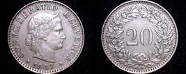 1943 Swiss 20 Rappen World Coin - Switzerland - $11.99