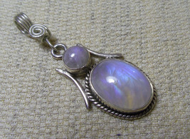 "925 Sterling Silver Handmade White Rainbow Moonstone Pendant 1 1/2"" Hallmarked - $44.54"