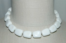 VTG CROWN TRIFARI White Celluloid Plastic Abstract Beaded Necklace Choke... - $29.70