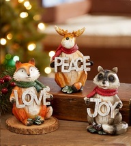 Cute Winter Woodland Animals Set of 3 Love Peace or Joy Imprinted Front ... - $21.88