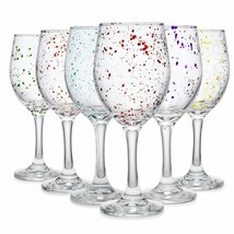 Carnival Color, Paint Splatter Wine Glass 10 OZ Party Color Set of 6 - $28.70