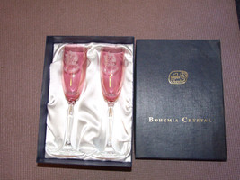 Pair of Bohemia Crystal Champagne Flutes 40th W... - $12.30