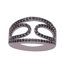Black Spinel Lovely Collection 925 Sterling Silver Ring Jewelry Sz 7.5 S... - $28.37
