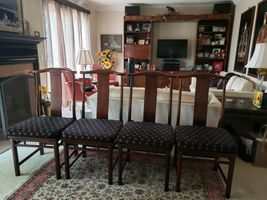 Baker Mid Century Hollywood Chinoiserie Walnut  Dining Room Table + 6 Chairs image 8