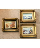 Framed Art Oil Painting On Wood Panel Artist Signed Lot of 3 Scenery Wat... - $199.99