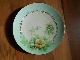 Old Vintage / Antique Mint Green Leaves Leaf Goldtone Small Plate Elegan... - $9.99